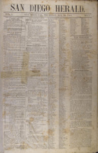 The first issue of the San Diego Herald.